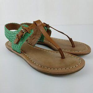 Corso Como Green Tan Leather Woven T-Strap Sandals